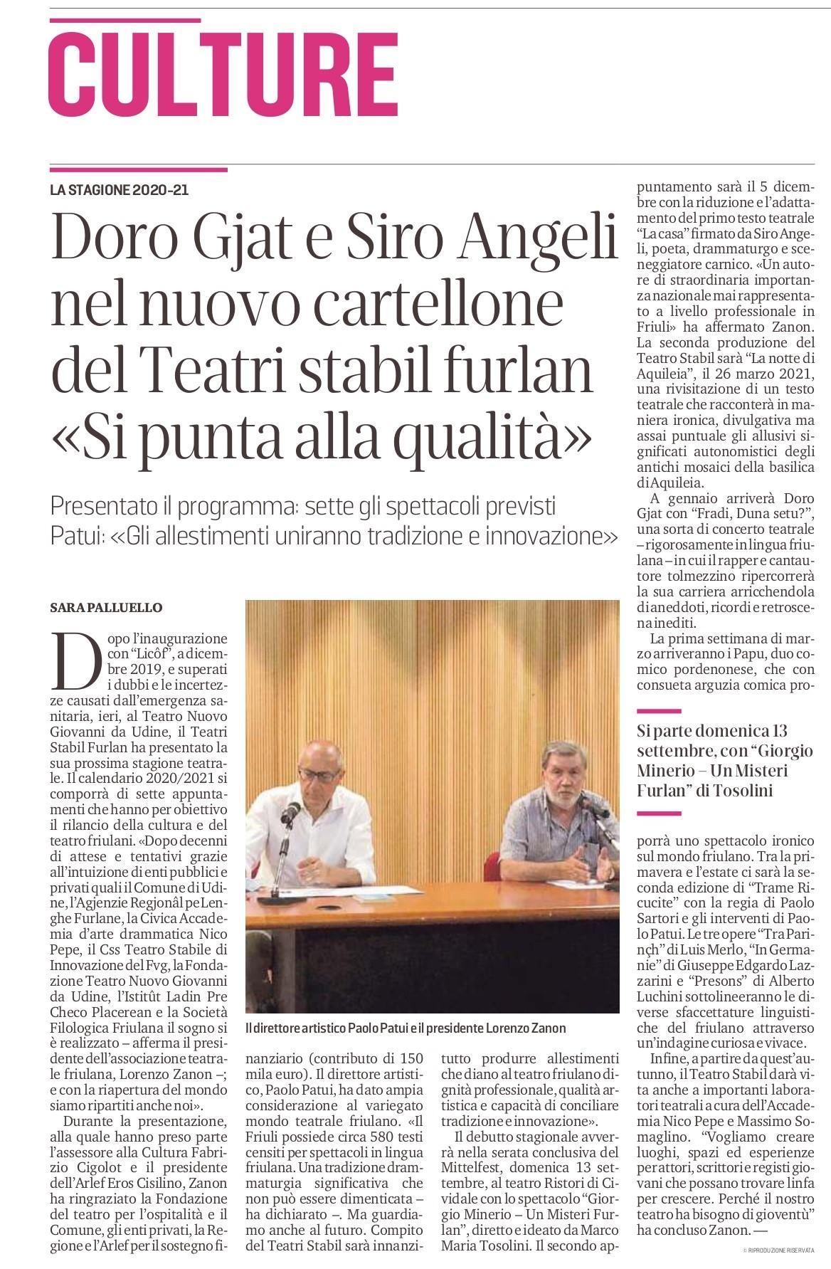 Doro Gjat e Siro Angeli nel nuovo cartellone del Teatri Stabil Furlan «Si punta alla qualità»